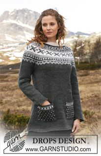 """Kristina - Knitted DROPS tunic with round yoke sleeves in """"Karisma"""". Size S  - XXXL. - Free pattern by DROPS Design"""