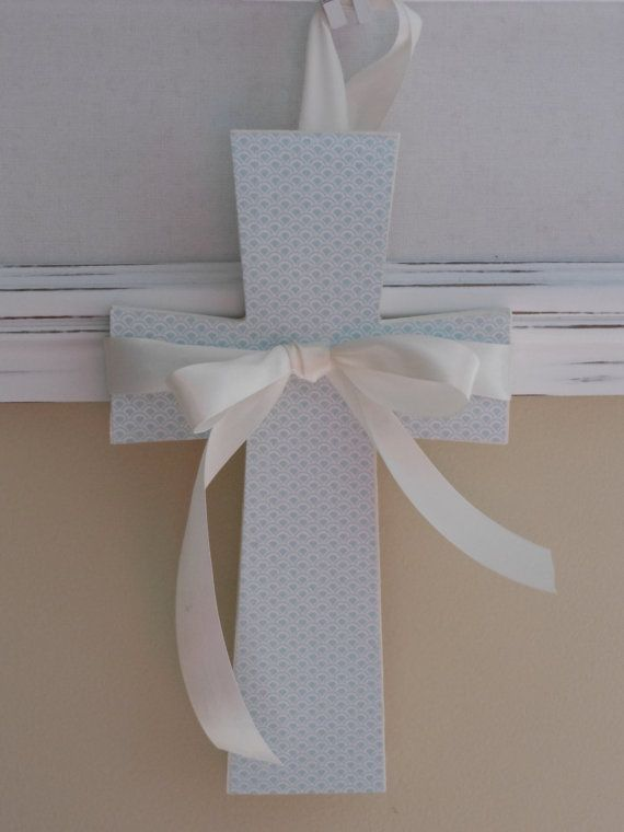 Blue and Ivory Wooden Cross  Vintage Inspired  by ShopTulipLane