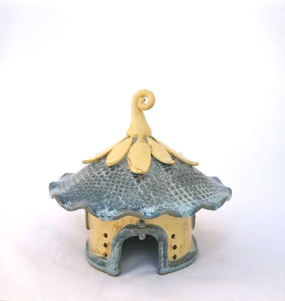 Handbuilt Ceramic Fairy House Garden Decoration Gardener Gift Art Storybook Toad house hand built ceramic clay house gnome claysoul ooak