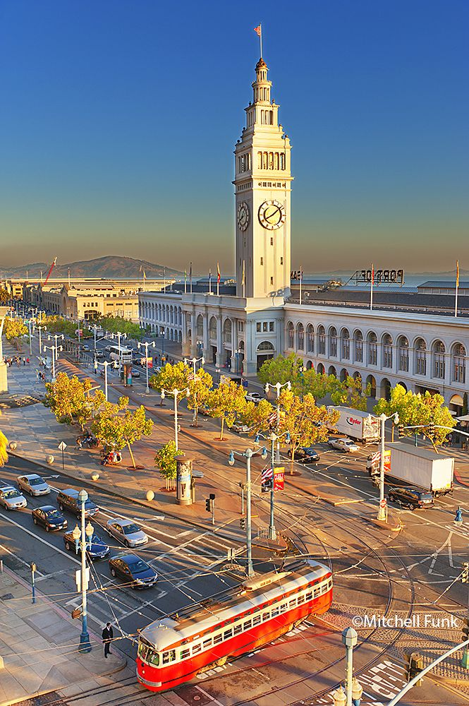 San Francisco Map Richmond District%0A Orange Street Car And Ferry Building On Embarcadero  San Francisco By  Mitchell Funk www