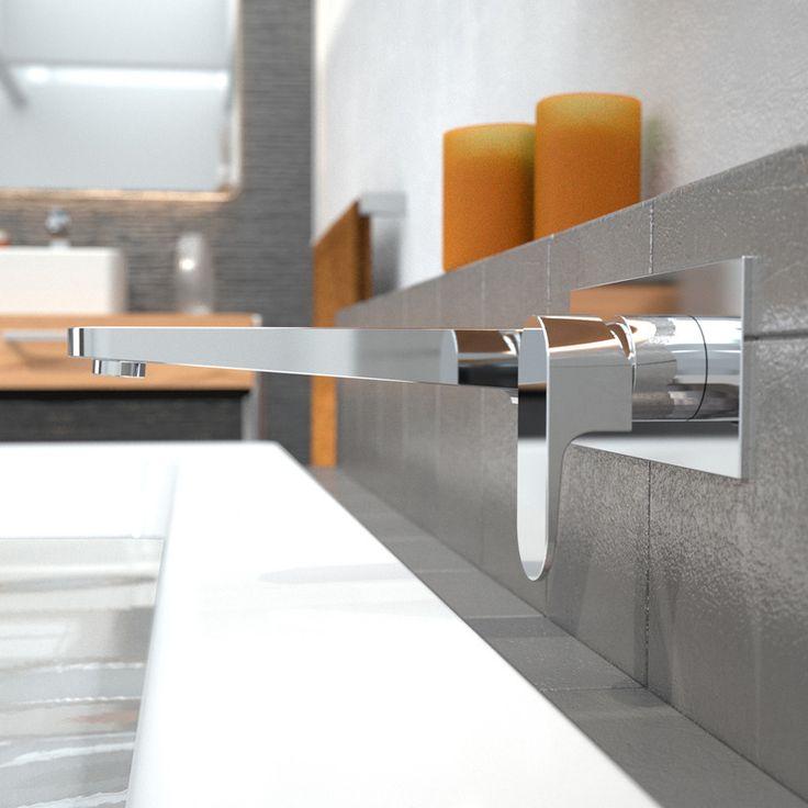 Caroma Chrome Bath Track Wall Mixer #clean #european #contemporary