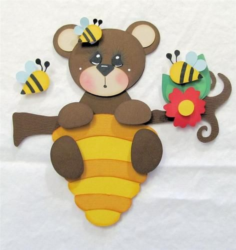Fabulous Friday Honey Bee Bear Premade Paper Piecing Scrapbook Page SWAK TPHH | eBay