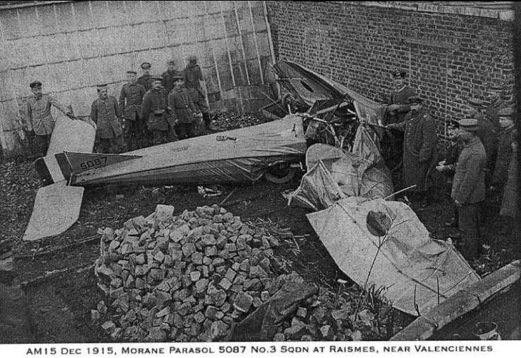 Morane Parasol 5087 No 3 Squadron, shot down at Raismes, near Valenciennes, December 1915. Morane Parasol 5087 Escadron 3, abattu à Raismes, près de Valenciennes, Décembre 1915.