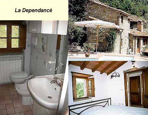 """""""DEPÉNDANCE""""  OLD CHESTNUT DRYING-ROOM approx. 60 mq. 2 p.    Once used as a chestnut drying room, the Annexe comprises a solar panelled room with king size bed and bathroom. It is centrally heated and comes with parking facilities."""