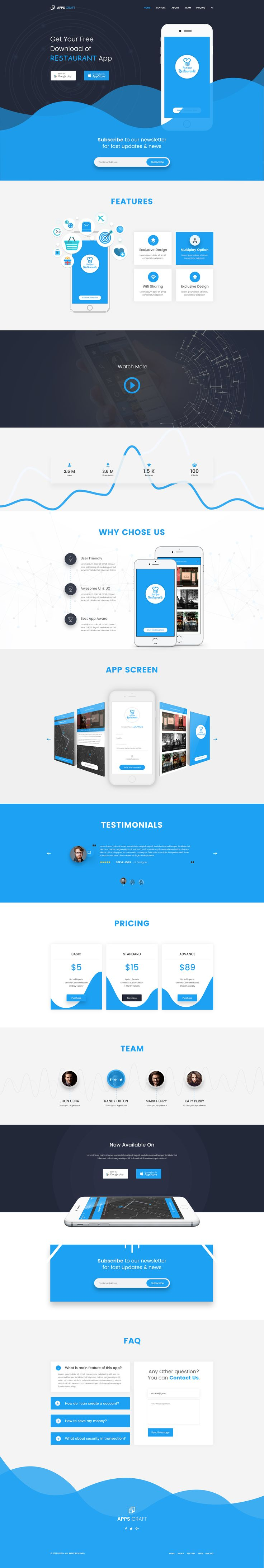 Apps Craft - App Landing PSD Template #marketing landing page #marketing template #mobile app • Download ➝ https://themeforest.net/item/apps-craft-app-landing-psd-template/19675499?ref=pxcr