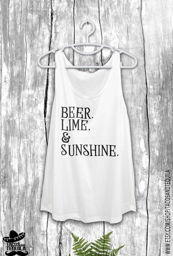 Beer Lime and Sunshine Women's Tank Top Indie Boho Rocker Tee Gypsy Yoga Bohemian Boho Chic Tank Top Beach White Tank