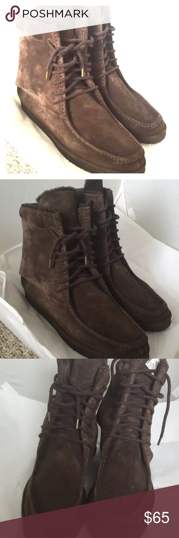 "FLORSHEIM DUCKIE Suede Chukka Boots Ankle sz 13 These boots are beautiful. Minimal wear to sole. Suede looks amazing. Lined with faux fur. Laces look good too. Sz 13. Mens. Measures approx 12"" from toe to heel. Luscious chocolate brown Florsheim Shoes Chukka Boots"