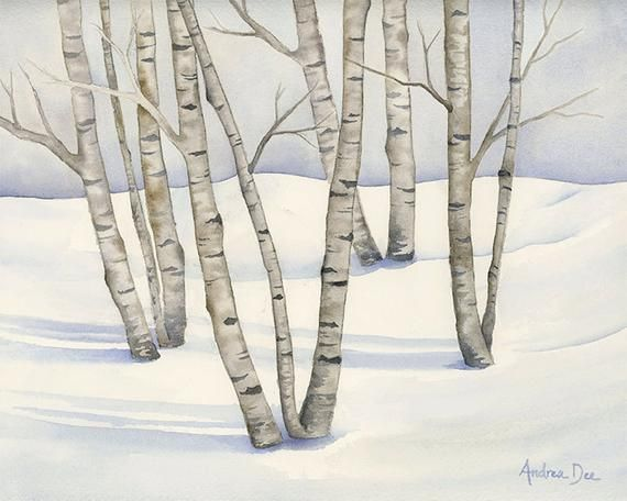 Watercolor Birch Tree Painting Winter Birch Trees 8 X 10 Print