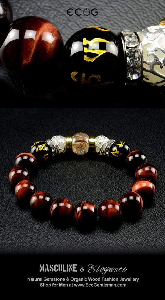 ♂ Unique Fashion Jewelry for Men - Rutilated red tiger's eyes black onyx and hand carved Om Mani Padme Hung beads bracelet - Masculine & elegance