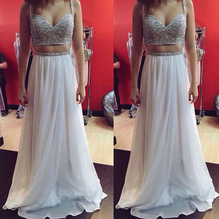 Sexy Two Pieces White Prom Dresses Spaghetti Straps Sweetheart with Beadings Backless Long Prom Pageant Dress For Party