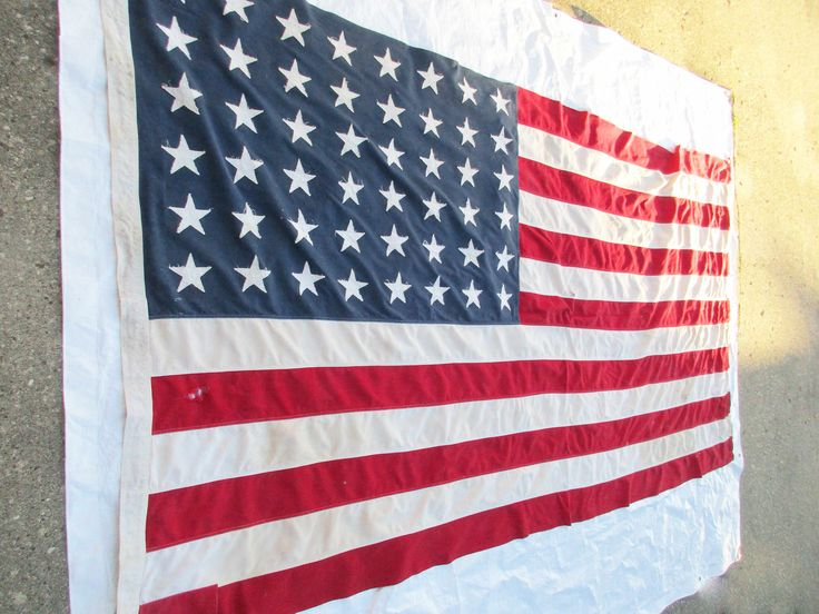 Retired Vintage US 48 Star Flag - Flag With Great History - Brass Grommets - All Stitched Linen - Shabby Condition - Large by TheBlackSuitcase on Etsy