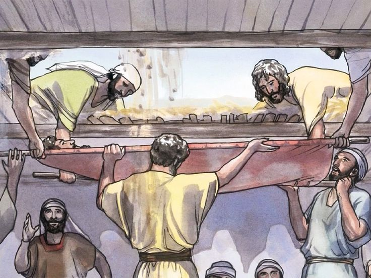 Free visuals: Jesus heals the paralytic let down from the roof