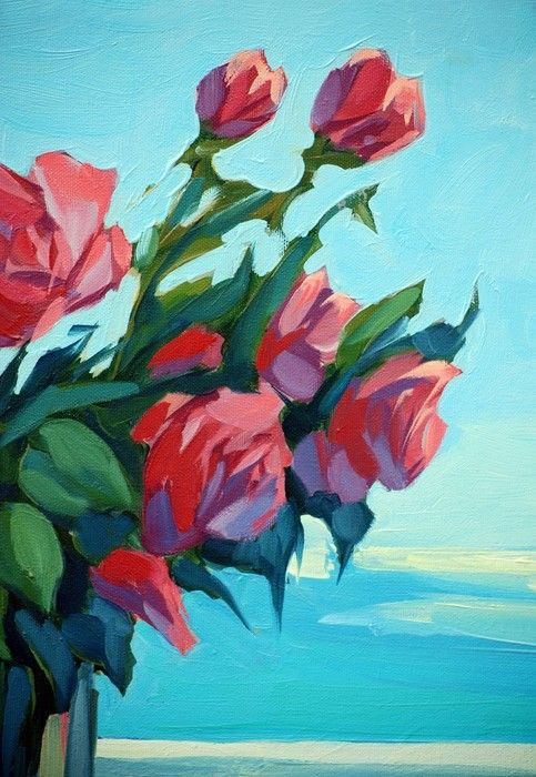Red Flowers from $34.99  | www.wallartprints.com.au #ImpressionismArt