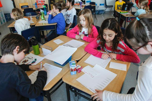 Cassidy Pilutti's Grade-3 french immersion class at Ecole Sir John A. Macdonald Public School is participating in their second Mystery Skype challenge in Kingston, Ont. on Thursday April 2, 2015. Students have to work as a team to generate questions and research the answers to figure out the mystery location of the other class before they figure out where the local Grade-3 class is location in the world. Julia McKay/The Kingston Whig-Standard/QMI Agency