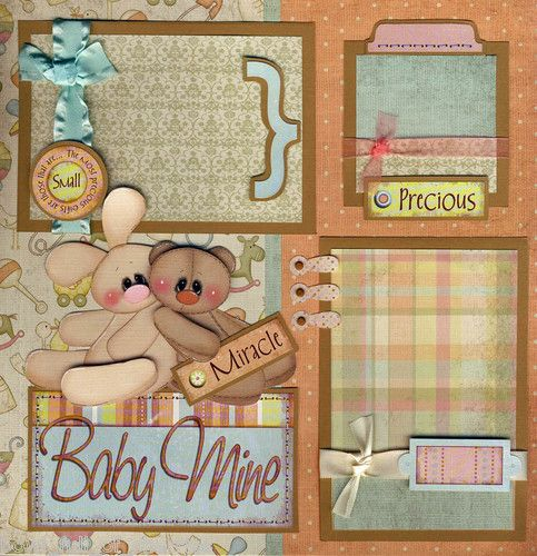 BABY MINE ~ 2 premade scrapbook pages 12x12 BY CHERRY boy or girl paper piecing   eBay