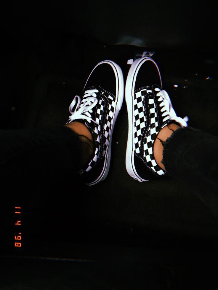 black and white checkered van