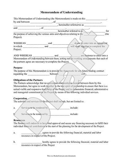 Memorandum of Understanding Form - MoU Template (with Sample) - mou form