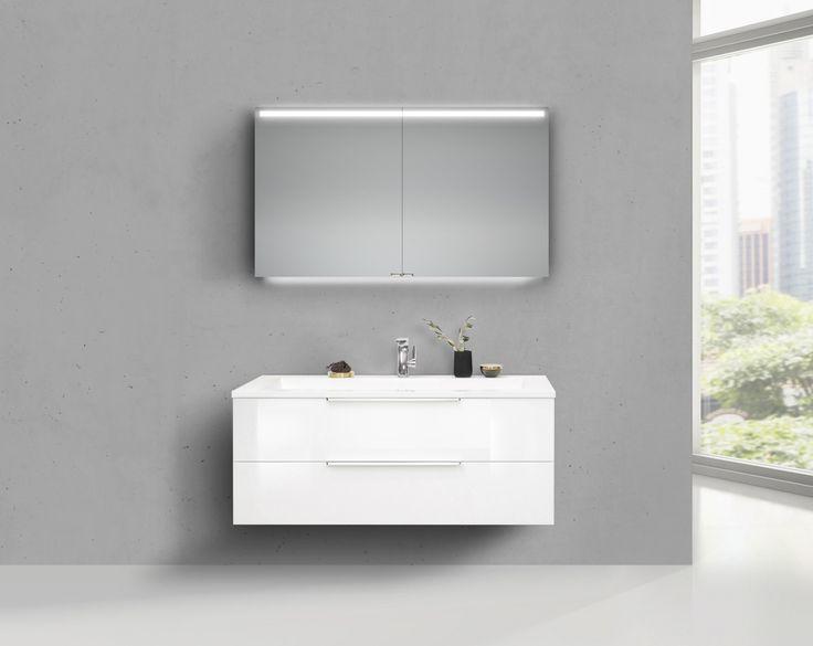 Design Badmöbel Cubo 120 cm Doppelwaschtisch weiß hochglanz, mit Unterschrank Led Spiegelschrank- Jetzt bestellen unter: https://moebel.ladendirekt.de/bad/badmoebel/badmoebel-sets/?uid=e37c67f0-ea5a-56b0-8a88-fb6aab937a24&utm_source=pinterest&utm_medium=pin&utm_campaign=boards #bad #badmoebel #badmoebelsets #waschtischsets