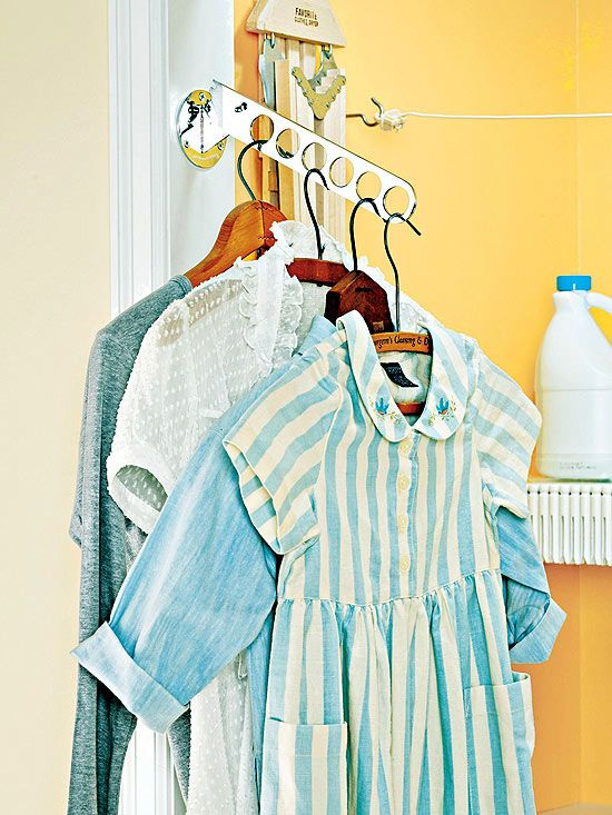 Investing in a wall-mount clothing valet is an inspired way to keep your clothes wrinkle-free: http://www.bhg.com/rooms/laundry-room/makeovers/laundry-room-design-basics/?socsrc=bhgpin110313smallspaceoption&page=7