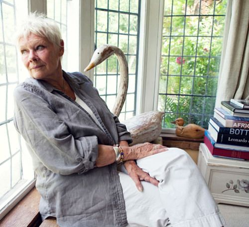 Judi Dench at her home...