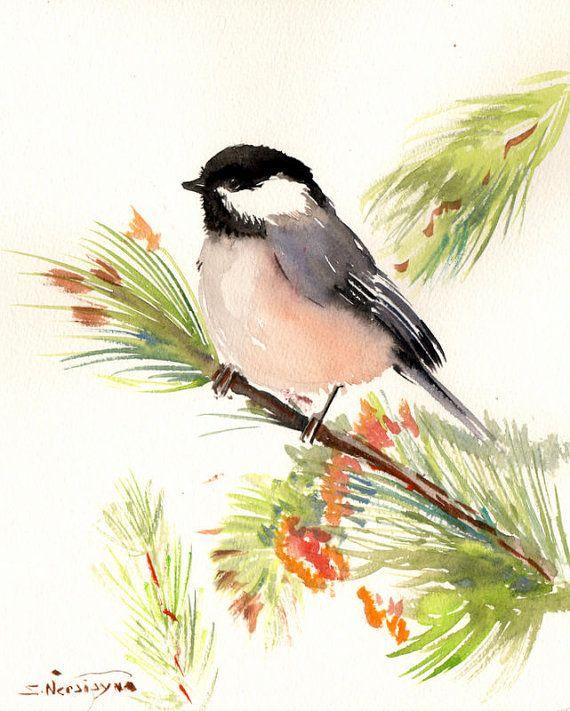 Chickadee on piine tree Original watercolor by ORIGINALONLY, $28.00