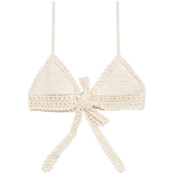 She Made Me Wraparound crochet bikini top ($121) ❤ liked on Polyvore featuring swimwear, bikinis, bikini tops, swimsuits, cream, wrap around bikini top, strappy bikini top, tankini swimsuit tops, crochet bathing suit and strappy swimsuit