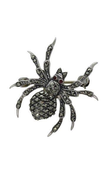 Vintage sterling silver marcasite spider brooch