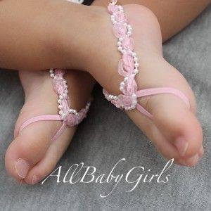 Pink with Pearls Baby Barefoot Sandals for any Age
