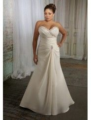 Satin Sweetheart Ruched Bodice A-line Wedding Dress