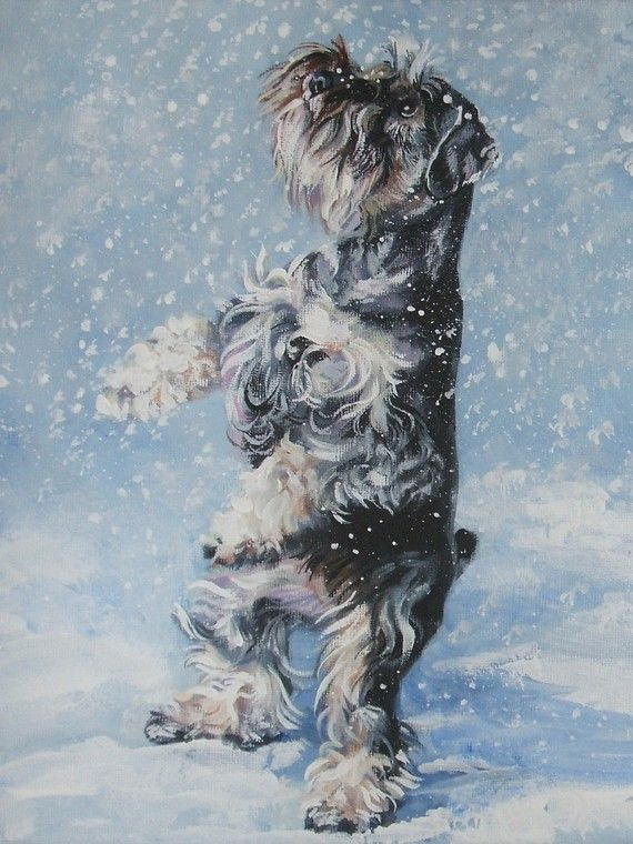 Miniature Schnauzer art print CANVAS print of LA by TheDogLover, $39.99
