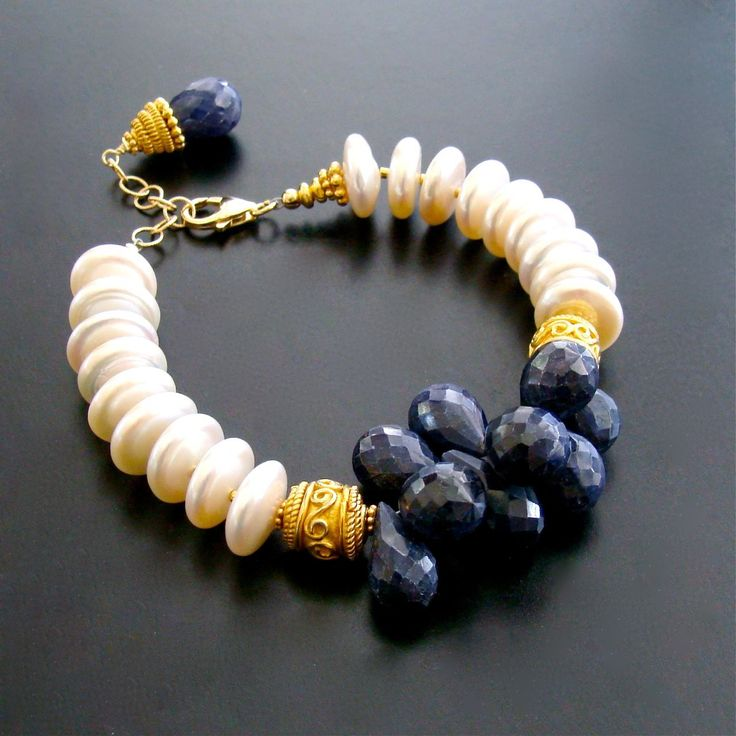 #2 Loretta III Bracelet – Loretta III Bracelet – Blue Sapphire & Coin Pearls