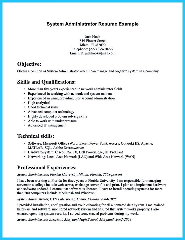 594 best Resume Samples images on Pinterest You are, Career and - network administrator resume