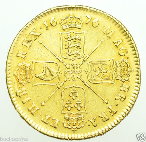 RARE 1676 CHARLES II FIVE GUINEAS BRITISH GOLD COIN GVF