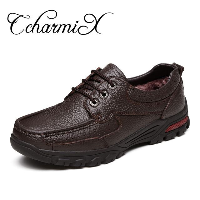Discounted $33.49, Buy CcharmiX Genuine Leather Men's Business Shoes Size 38-48 Fashion Handmade Men Formal Flats High Quality Male Moccasins