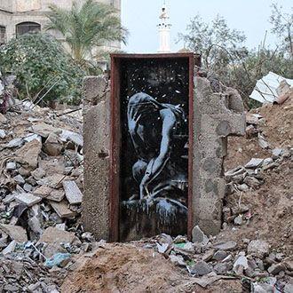 Bansky temerario: sfida la sicurezza armata per dire la sua a Gaza