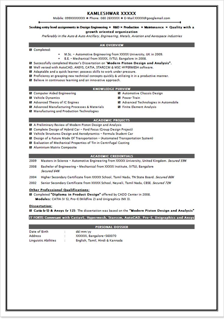 Fresher School Teacher Resume Format India