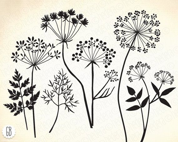 Embroidery Pattern from Wild herbs flowers silhouette vector clip art by GrafikBoutique. Image Only. jwt