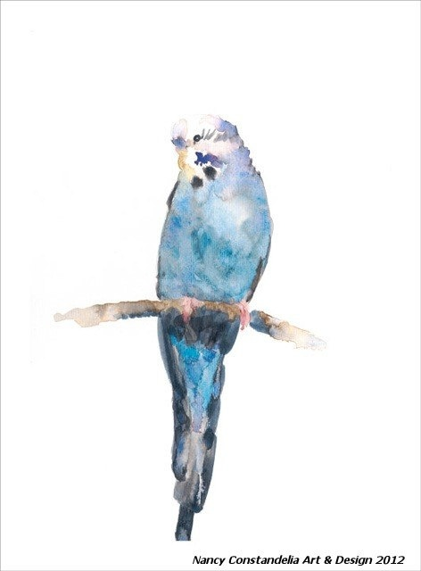 OISEAU BLUE Blue Bird Watercolor Artwork by SurfaceDESIGNandART, $50.00