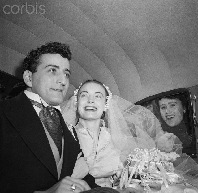 Tony Bennett and Bride Patricia Beech In Wedding Car-1952