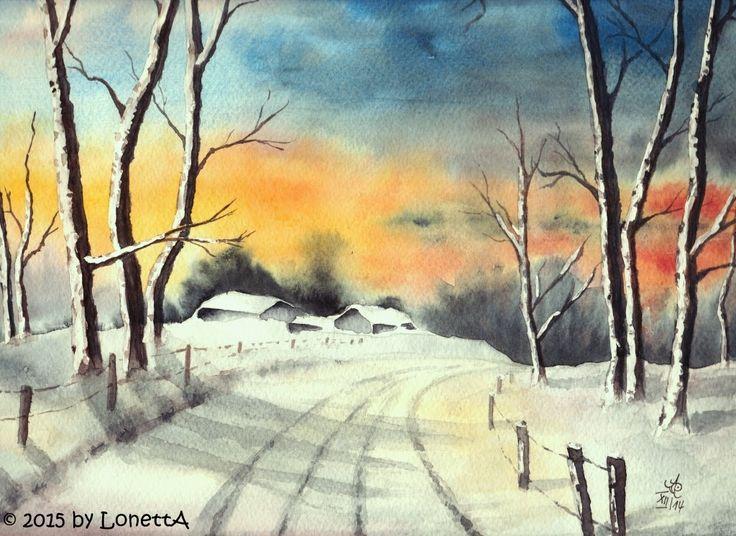 Crea R Tives Winter Landschaften Malen Aquarell