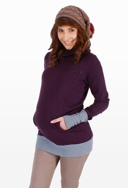 ♥Das Original♥ Stillpullover Holly in violett/gest von AgnesH.  Umstandskleidung und Stillkleidung auf DaWanda.com