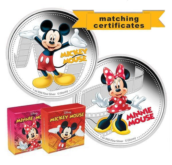 Mickey & Minnie - 1oz silver limited edition collectibles.  A perfect pair with matching certificate numbers.