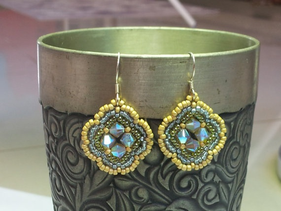 Spring Swarovski beadwork drop earrings by SandyYuDesign on Etsy, $18.00