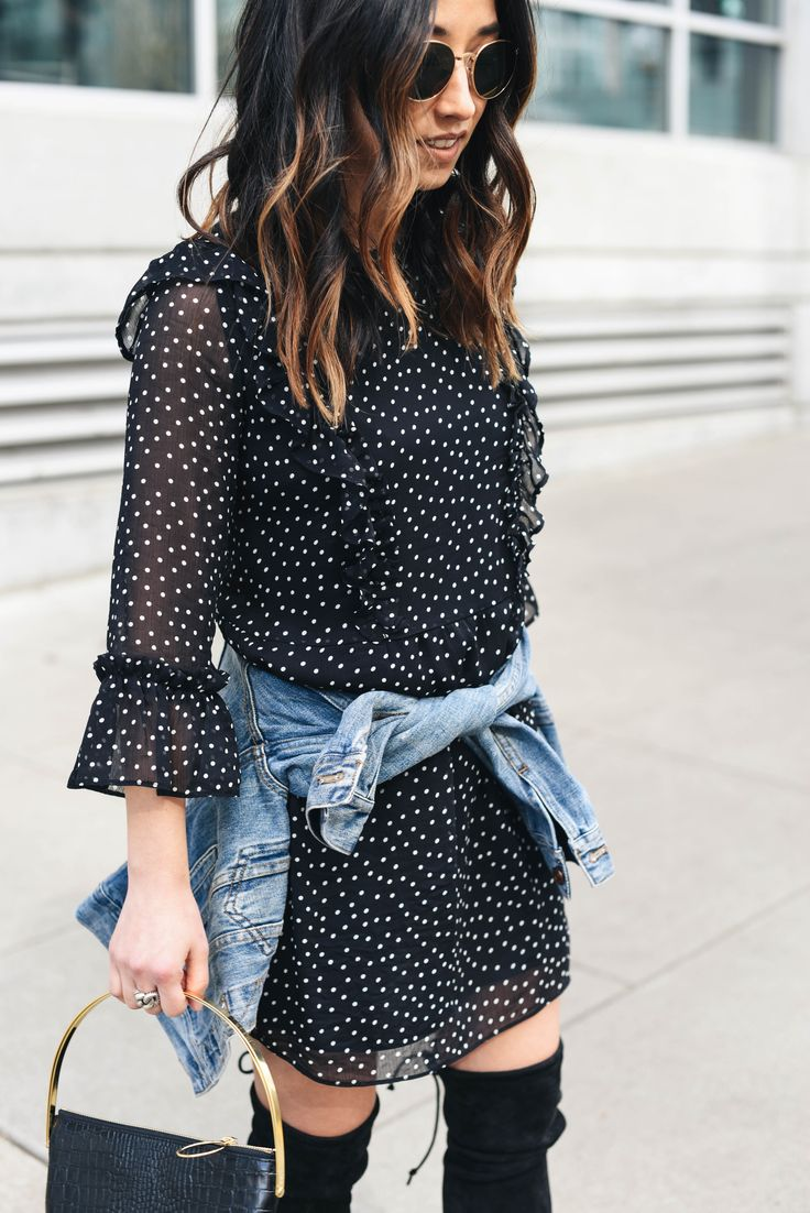 Topshop polka dot ruffle dress