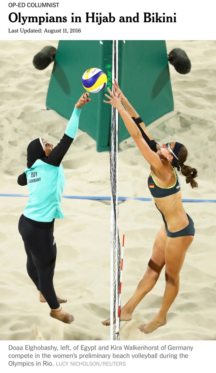 Women's preliminary beach volleyball at the 2016 Rio Olympics.  The lady on the left is an Egyptian contestant.