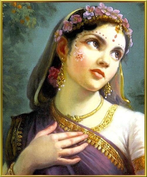 Radha, with beautiful gopi dots makeup