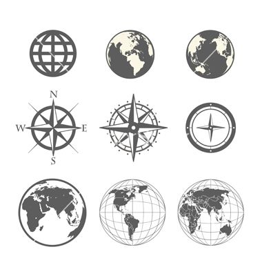 Globe and wind rose scheme collection vector by tovovan on VectorStock®