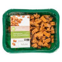 AH puur&eerlijk biologische tofu roerbakblokjes pittig -  Vegan tip: melkzuur komt niet van melk! :)