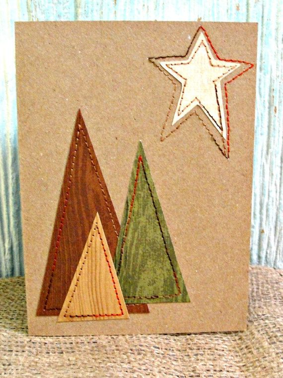 Rustic Kraft CHRISTMAS Card Sewn Modern Trees by LazyCaterpillar