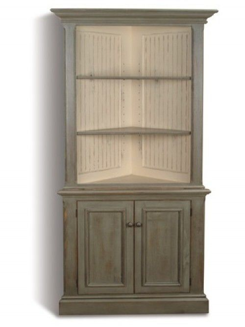 Heritage Corner Cabinet Antique Brass Victorian Knobs Sagebrush With Parchment Interior